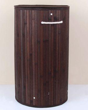 Bambu Yuvarlak Kahve Katlanır Çamaşır Sepeti