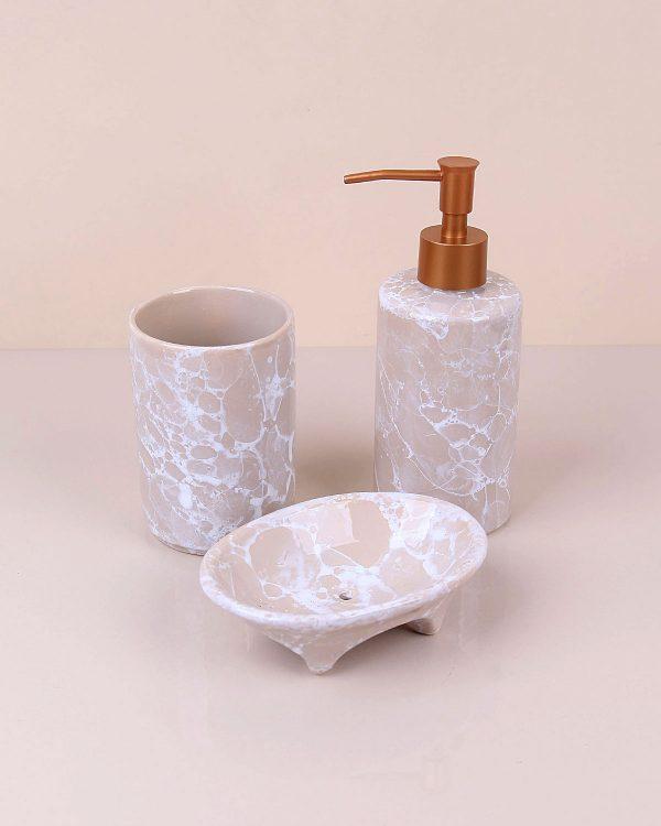 Krem Üçlü Seramik Banyo Seti