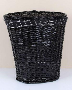 Oval Siyah Çamaşır Sepeti