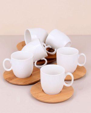 Porselen Kahve Takımı Bambu Tabaklı