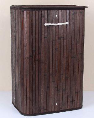 Bambu Diktörtgen Kahve Katlanır Çamaşır Sepeti