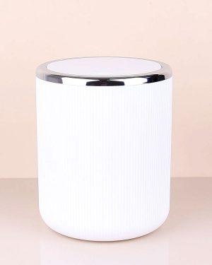 Lisbone White Siver Çöp Kovası