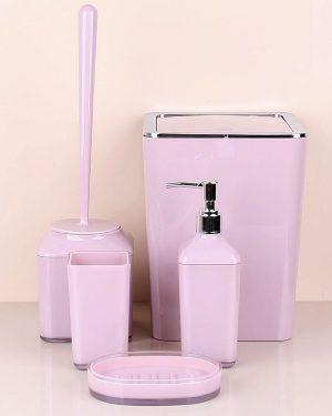 Pembe Kare Beş Parça Banyo Seti