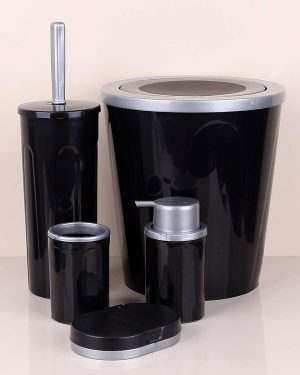 Siyah Plastik Beş Parça Banyo Seti
